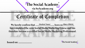 The Social Academy SoAcademy.org Certificate of Completion Example Homepage